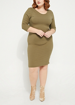 Plus Olive Midi Bodycon Dress