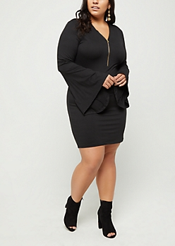 Plus Black Bell Sleeve Mini Dress