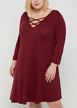 Plus Burgundy Lattice Yoke Swing Dress