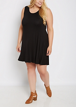 Plus Black Sleeveless Swing Dress