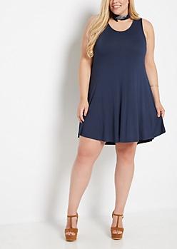 Plus Navy Sleeveless Swing Dress