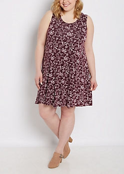 Plus Floral Folklore Tank Swing Dress