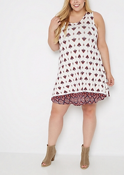 Plus Boho Fan Swing Dress