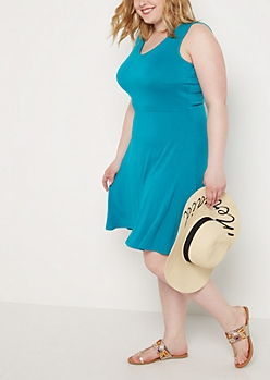 Plus Teal V-Neck Skater Dress