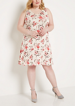 Plus Floral V-Neck Skater Dress