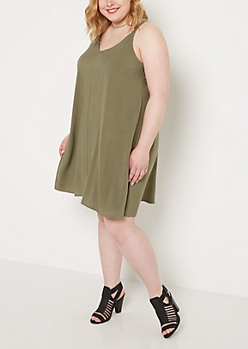 Plus Olive Caged Back Challis Dress