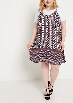 Plus Aztec Caged Back Challis Dress