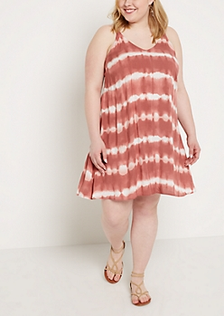 Plus Tie Dye Caged Back Challis Dress