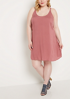 Plus Dusty Pink Caged Back Challis Dress