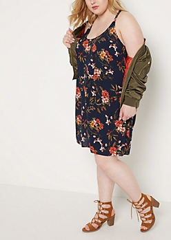 Plus Navy Floral Caged Back Challis Dress