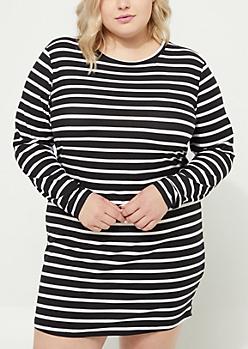 Plus Black Soft Knit Striped Dress