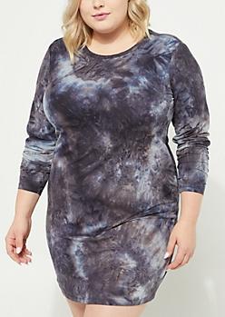 Plus Gray Soft Knit Tie Dye Dress