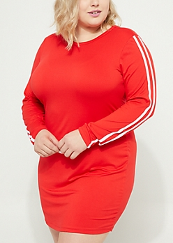 Plus Red Soft Knit Long Sleeve Varsity Dress
