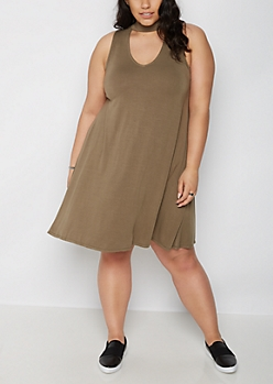 Plus Olive Choker Neck Swing Dress