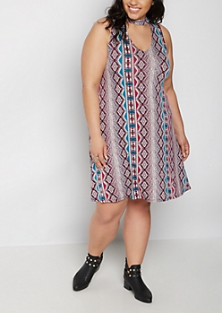 Plus Aztec Keyhole Swing Dress