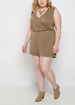 Plus Olive Surplice Romper