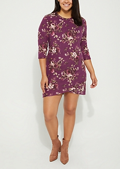 Plus Floral Hacci Knit Dress