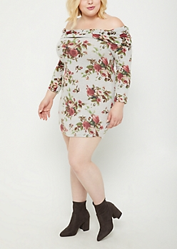 Plus Floral Off Shoulder Sweater Bodycon Dress