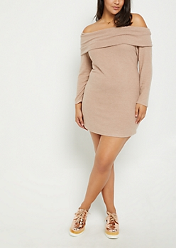 Plus Taupe Off Shoulder Sweater Bodycon Dress