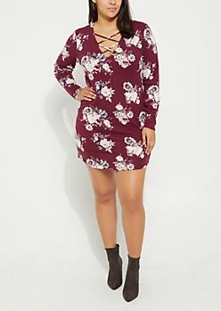 Plus Purple Floral Lattice Hacci Dress