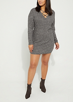 Plus Gray Hacci Rib Knit Lattice Dress