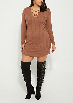 Plus Brown Hacci Rib Knit Lattice Dress