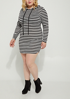 Plus Black Striped Hacci Hoodie Dress