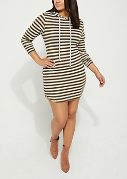 Plus Olive Striped Hacci Hoodie Dress
