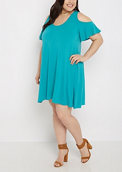 Plus Turquoise Cold Shoulder Swing Dress