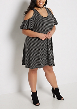 Plus Black Striped Cold Shoulder Dress