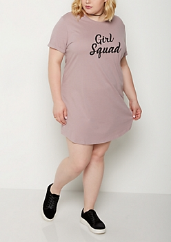Plus Girl Squard T Shirt Dress