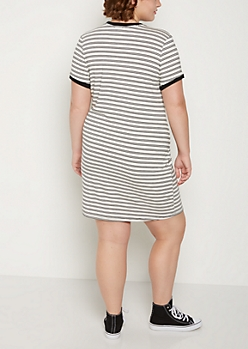 Plus White Striped Ringer Dress