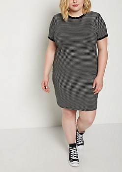 Plus Black Striped Ringer Dress