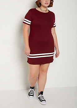 Plus Burgundy Athletic Striped T Shirt Dress
