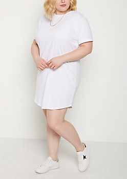 Plus White Cuffed T Shirt Dress