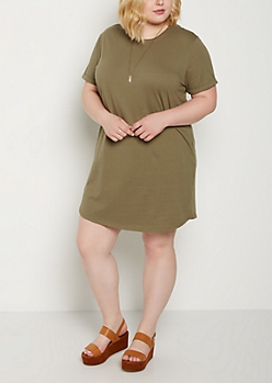 Plus Olive Cuffed T Shirt Dress