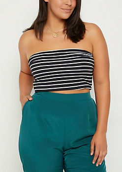Plus Striped Soft Brushed Tube Top