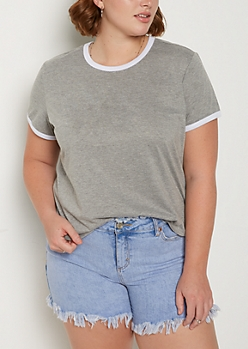 Plus Heather Gray & White Ringer Tee