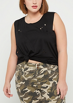 Plus Black Destroyed Muscle Tank Top