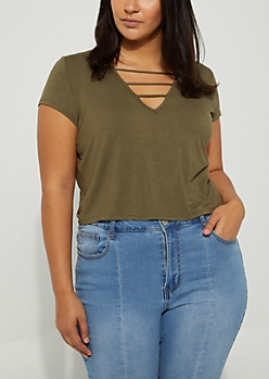 Plus Olive Cage Strapped Tee