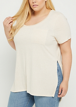 Plus Oatmeal Heather High Slit Pocket Tee
