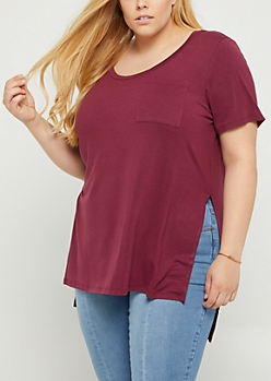 Plus Burgundy High Slit Pocket Tee