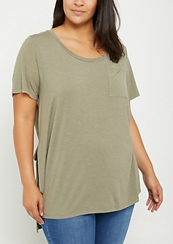 Plus Olive High Slit Pocket Tee