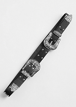 Silver Studded Double Buckle Belt - Wider Fit