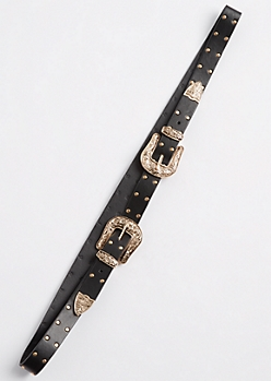 Gold Studded Double Buckle Belt - Wider Fit