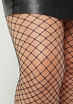 Plus Black Basic Fishnet Tights