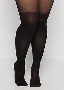Plus Black Blocked Illusion Tights