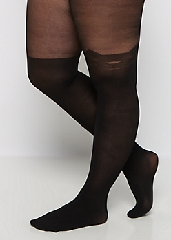 Plus Black Kitty Illusion Tights