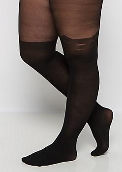 Plus Black Kitty Illusion Tights