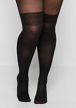 Plus Black Lace Band Illusion Tights